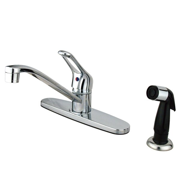 Wyndham Single Handle Centerset Kitchen Faucet with Side Sprayer by Kingston Brass