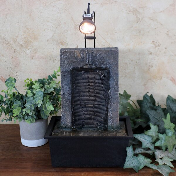 Resin Ancient Garden Wall Tabletop Water Fountain with Light by Wildon Home ®