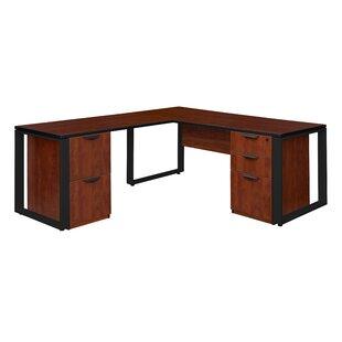 Mireya Double Laminate Pedestal L-Shape Executive Desk