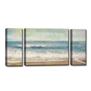 'Beach Memories' by Norman Wyatt Jr. 3 Piece Painting Print on Wrapped Canvas Set by Ready2hangart
