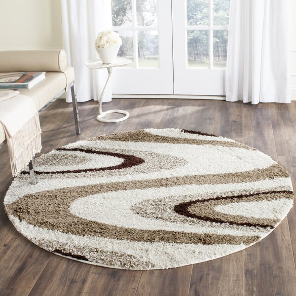 Driffield Ivory/brown Shag Area Rug By Ebern Designs.