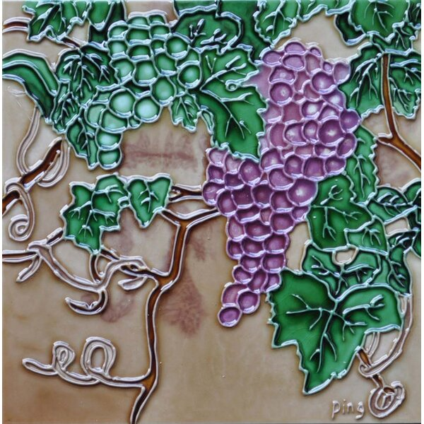 Green and Purple Grape Tile Wall Decor by Continental Art Center