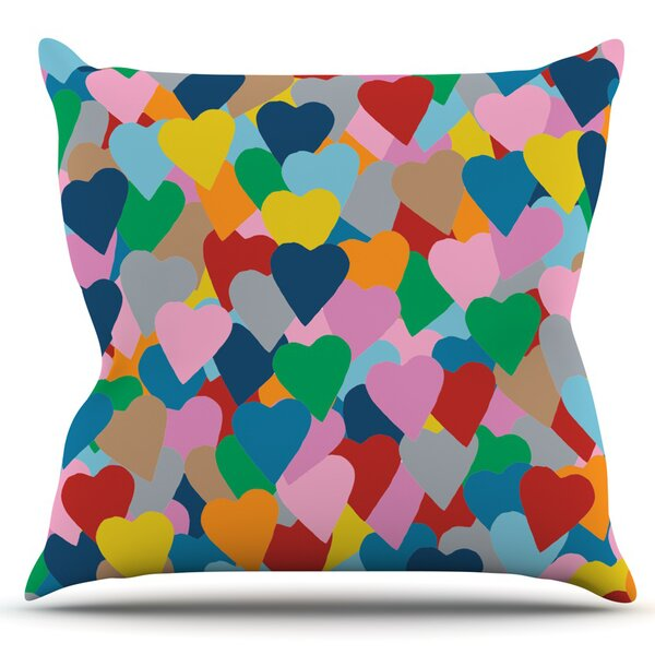 More Hearts by Project M Outdoor Throw Pillow by East Urban Home