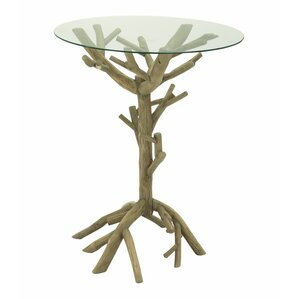 Wood and Glass End Table b..