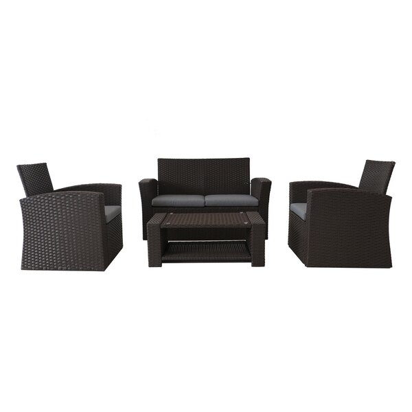 Macaro 4 Piece Sofa Seating Group with Cushions (Set of 4) by Charlton Home