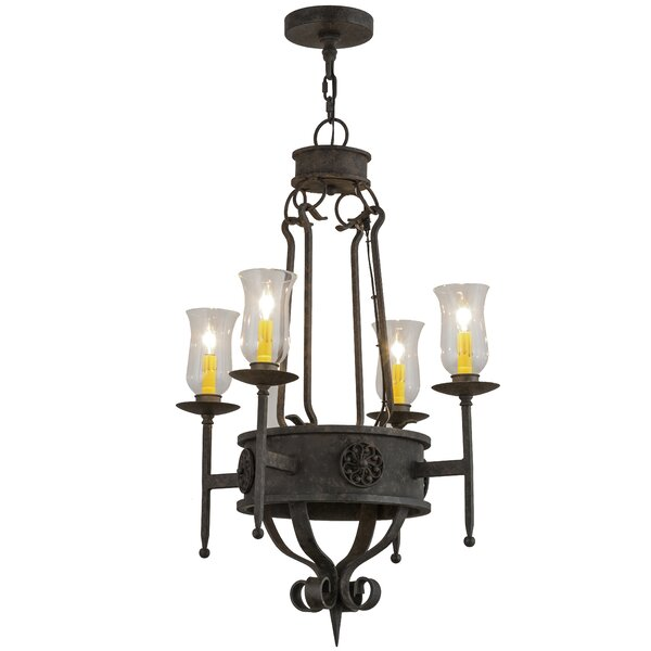 Beardsley 4 - Light Candle Style Wagon Wheel Chandelier by Fleur De Lis Living Fleur De Lis Living