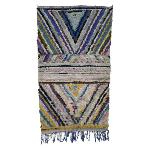 Boucherouite Azilal Hand-Woven Blue/Ivory Area Rug by Casablanca Market