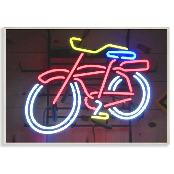 Bicycle Neon Lights Photography Graphic Art Print by Stupell Industries