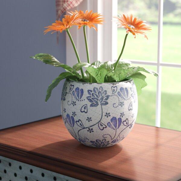 Anastagio Old World Floral Round Ceramic Pot Planter by Bloomsbury Market