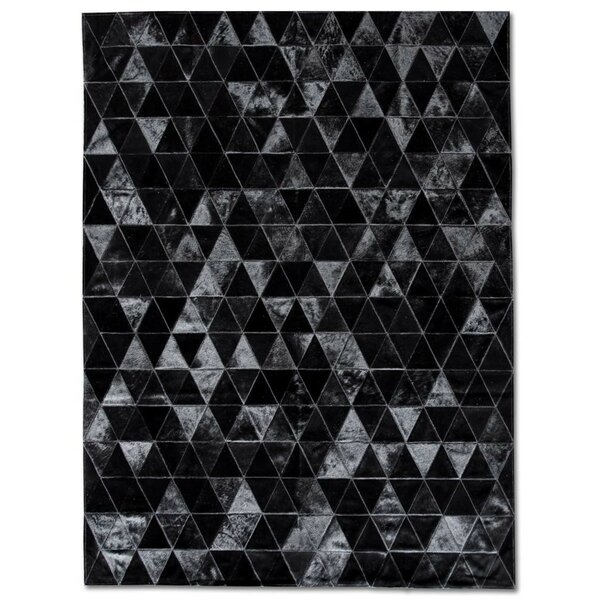 Patchwork Cowhide Kahn Black Area Rug by Pure Rugs