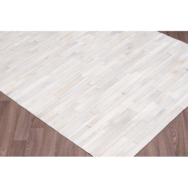 Charleen Stripes Hand Woven Cowhide White Area Rug by 17 Stories