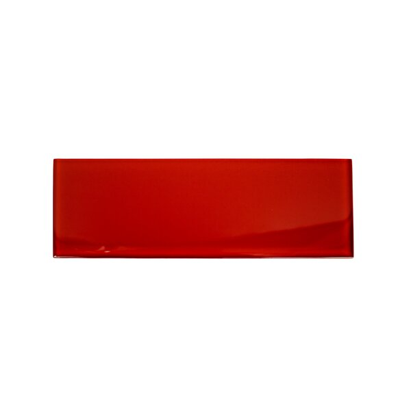 Contempo 4 x 12 Glass Subway Tile in Cherry Red by Splashback Tile