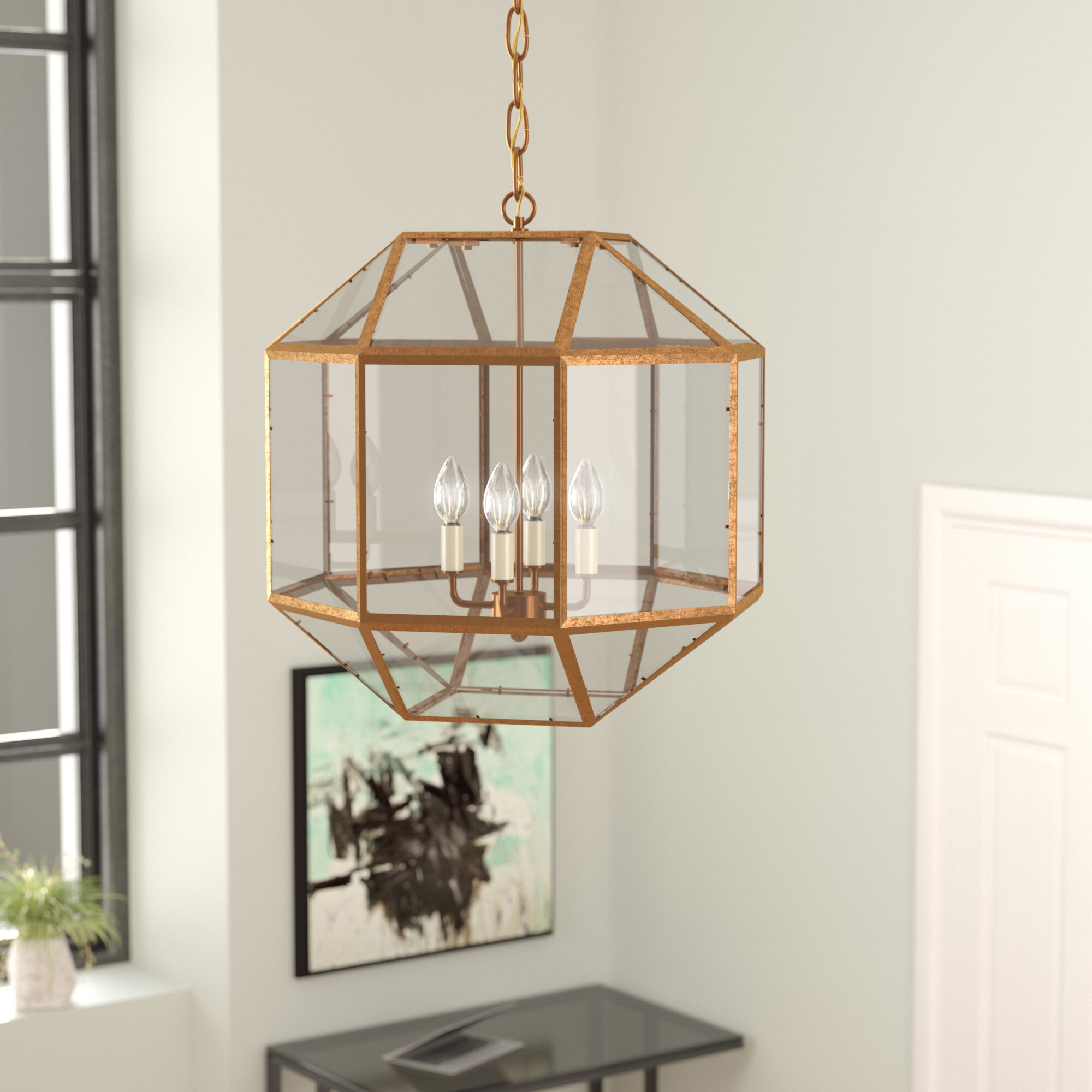 Ivy Bronx Burkeville 4 Light Geometric Chandelier Reviews Wayfair How To Install A Stylish