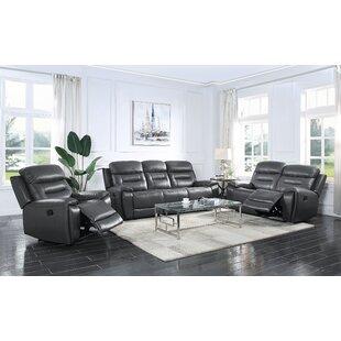 Jemiina 3 Piece Genuine Leather Reclining Configurable Living Room Set by Latitude Run®