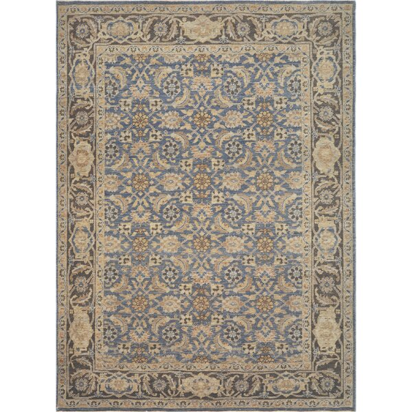 One-of-a-Kind Tabriz Quality Hand-Knotted Wool Brown/Blue Indoor Area Rug by Mansour