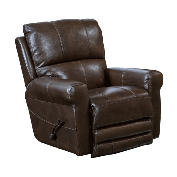 Union Point Leather Manual Swivel Recliner Red Barrel Studio W001960795