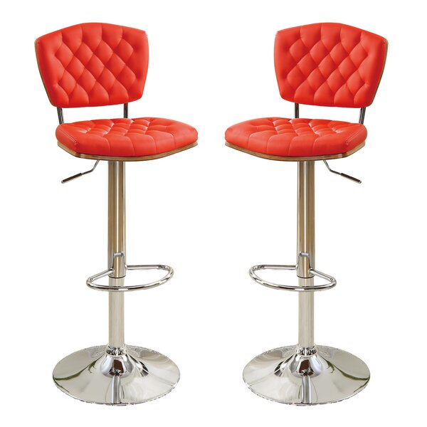 Bobkona Lyssa Adjustable Height Bar Stool (Set of 2) by Poundex