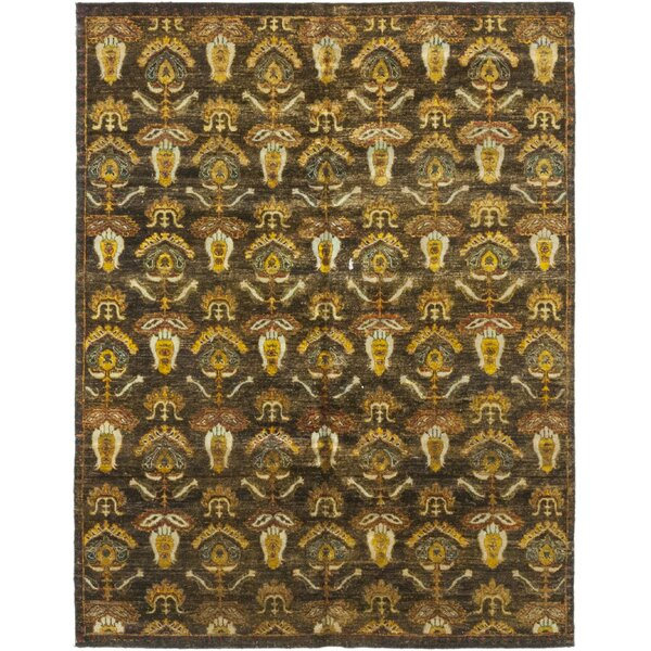 One-of-a-Kind Djokpe Hand-Knotted Silk Yellow/Brown Indoor Area Rug by Bloomsbury Market