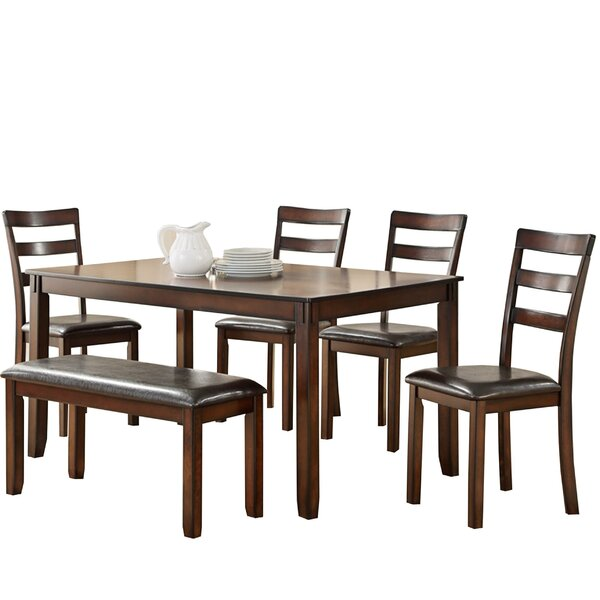 Stahr Rubberwood 6 Piece Solid Wood Dining Set by Millwood Pines Millwood Pines