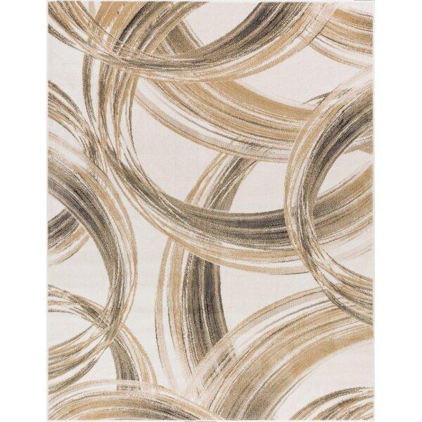 Devanna Modern Scrolls Ivory Area Rug by Ebern Designs