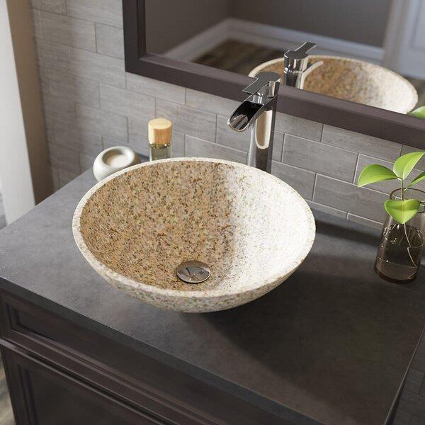 Stone Circular Vessel Bathroom Sink with Faucet