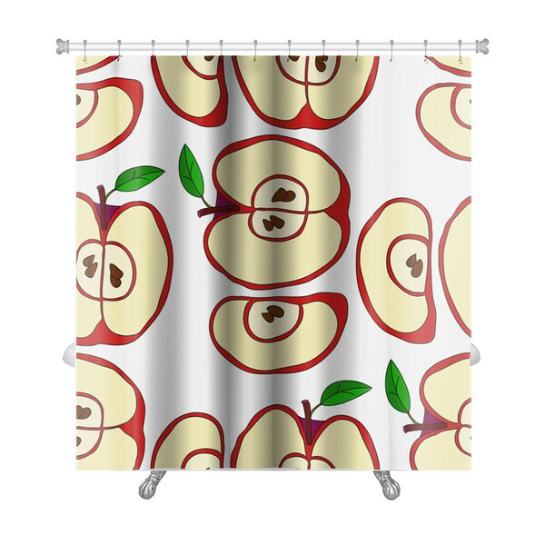 Fruit Pattern with Apples and Leaves Isolated Premium Shower Curtain by Gear New