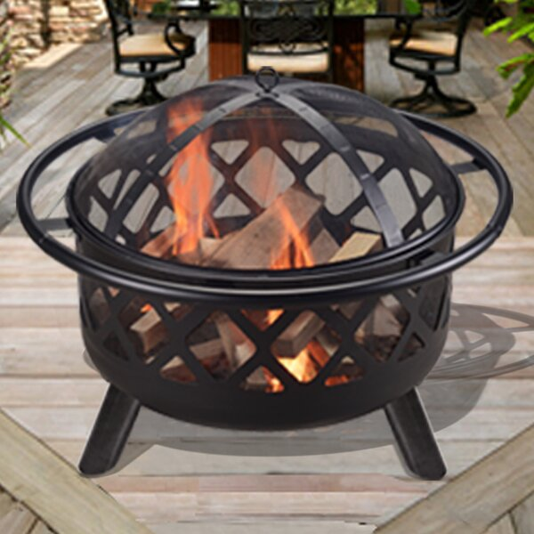 Outdoor Round Steel Wood Burning Fire Pit by Peaktop