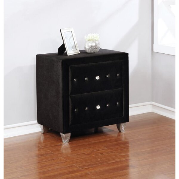 Miral 2 - Drawer Nightstand In Black Metallic By Everly Quinn