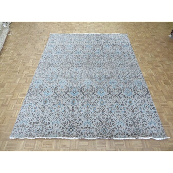 One-of-a-Kind Railsback Ikat Hand-Knotted Silk Silver Beige Area Rug by Astoria Grand