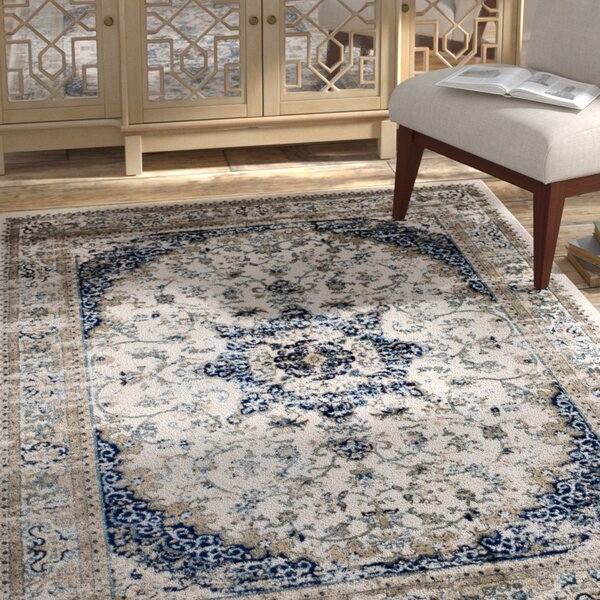 Amy Linen Beige/Blue Area Rug by Bungalow Rose