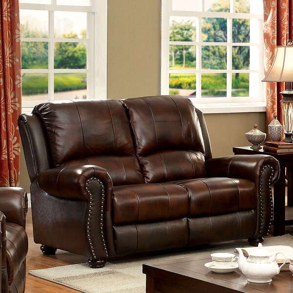 Premium Shop Fitzgibbons Transitional Leather Loveseat by Darby Home Co by Darby Home Co