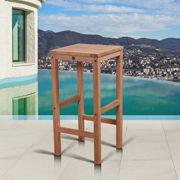 Elsmere 30 Teak Patio Bar Stool by Beachcrest Home