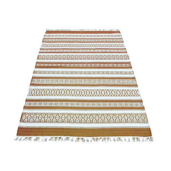 Flat Weave Reversible Striped Kilim Hand-Knotted Ivory/Honey Brown Area Rug by Bloomsbury Market