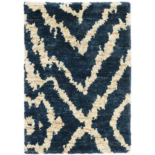 Sahara Animal Print Hand-Knotted Navy Area Rug