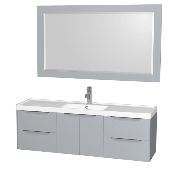 Murano 60 Single Gray Bathroom Vanity Set with Mirror by Wyndham Collection