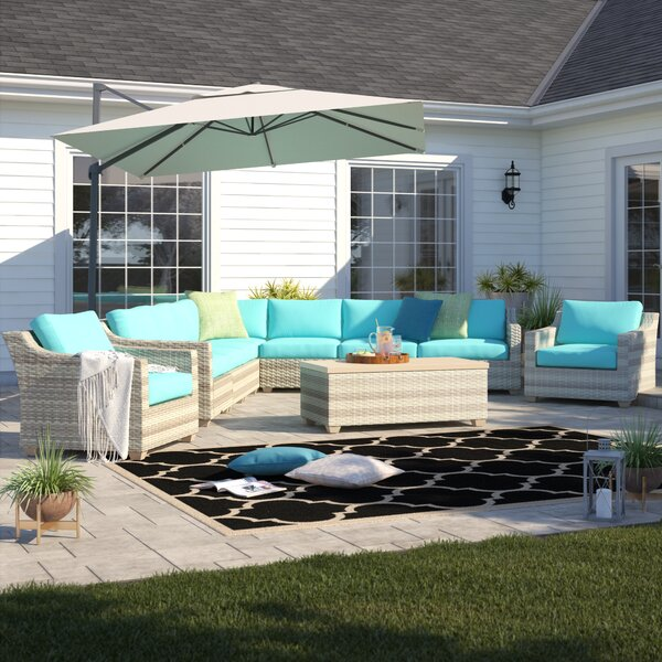 Falmouth 10 Piece Rattan Sectional Seating Group with Cushions by Sol 72 Outdoor