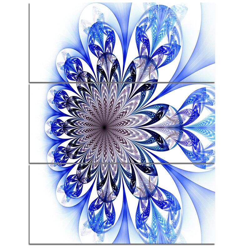 Designart Light Blue Fractal Flower Digital Art 3 Piece Graphic Art On Wrapped Canvas Set Wayfair