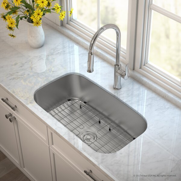 Outlast MicroShield™ Stainless Steel Real 16 Gauge 31.5 x 18.38 Undermount Kitchen Sink with Faucet by Kraus