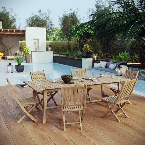 Christian Outdoor Patio 7 Piece Teak Dining Set by Rosecliff Heights