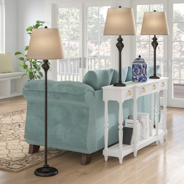 Peoria 3 Piece Table and Floor Lamp Set by Andover Mills