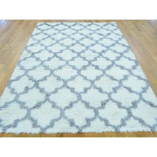 One-of-a-Kind Beard Plush Hand-Knotted Ivory Wool Area Rug by Isabelline