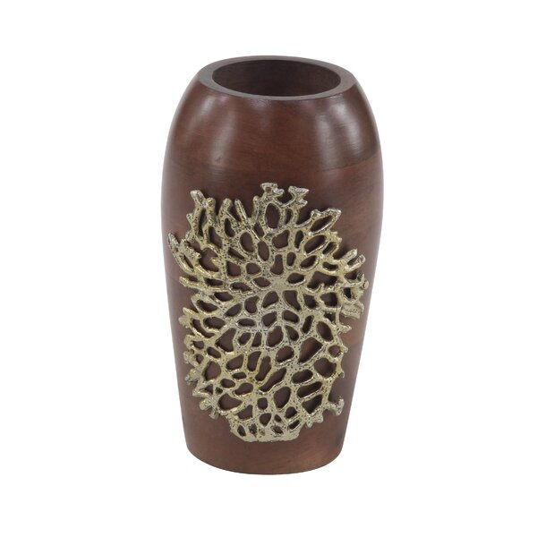 Petit Couli Coastal Wood Decorative Table Vase by World Menagerie