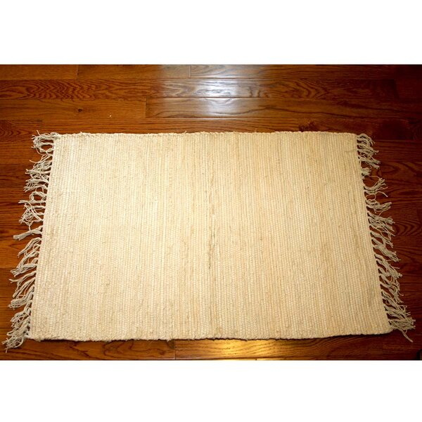 One-of-a-Kind Linmore Solid Hand-Woven Cream Area Rug by Bay Isle Home