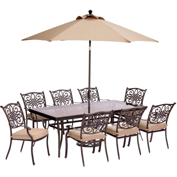 Lauritsen 9 Piece Rectangular Dining Set with Cushions by Three Posts
