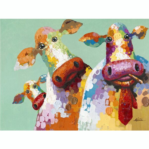 Curious Cows Acrylic Painting Print on Wrapped Canvas by Latitude Run