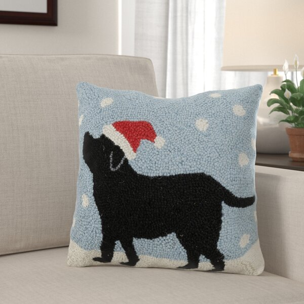 Forbell Dog in Snow Hook Wool Throw Pillow by The Holiday Aisle