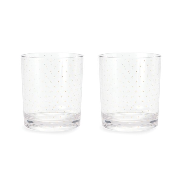 12 oz. Acrylic Glasses, Petite Gold Dot (Set of 2) by kate spade new york