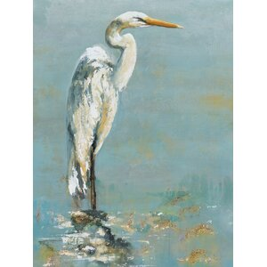'Herons I' Painting Print on Wrapped Canvas by Beachcrest Home