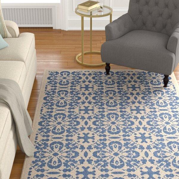 Herzberg Vintage Floral Blue/Beige Indoor/Outdoor Area Rug by Charlton Home