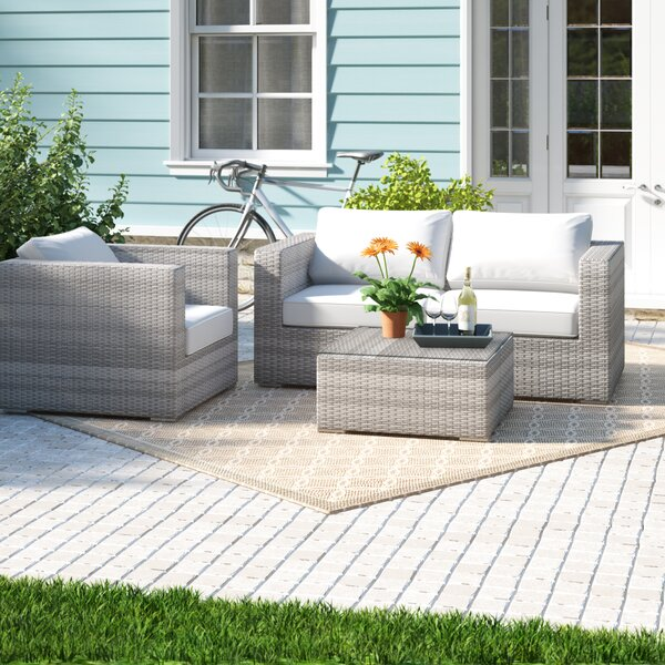 Darvin 4 Piece Sectional Seating Group with Cushions by Sol 72 Outdoor Sol 72 Outdoor